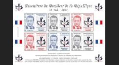 PRES17-13FND Feuillet 12 vignettes France Présidentielle 2017 - INVESTITURE DE MACRON