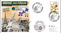 """VA229L-T2 FDC KOUROU """"Fusée ARIANE 5 - Vol 229 / EUTELSAT 65 West A"""" 09-03-2016"""