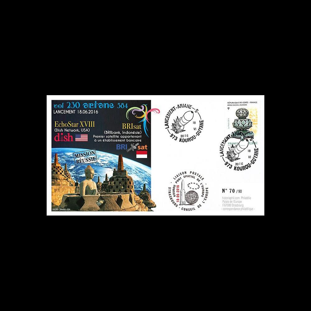 "VA230L-T2 FDC KOUROU ""Fusée ARIANE 5 - Vol 230 / Echostar XVIII & BRIsat"" 18-06-2016"