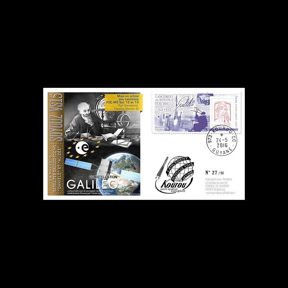 "VS15L FDC KOUROU ""Fusée SOYOUZ Vol n°15 / Constellation GALILEO FOC M5"" 24-05-2016"