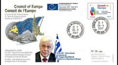 "CE68-IIA FDC Conseil de l'Europe ""Visite de M. PAVLOPOULOS"