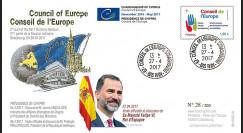 """CE68-IIB FDC Conseil de l'Europe """"Visite de Sa Majesté Felipe VI"""