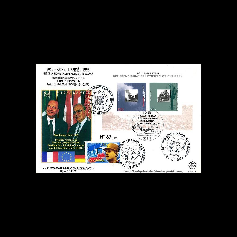 """PE302SP-T1 : FDC Allemagne-France """" 50 ans libération des camps / Chirac - Kohl """" 1995"""