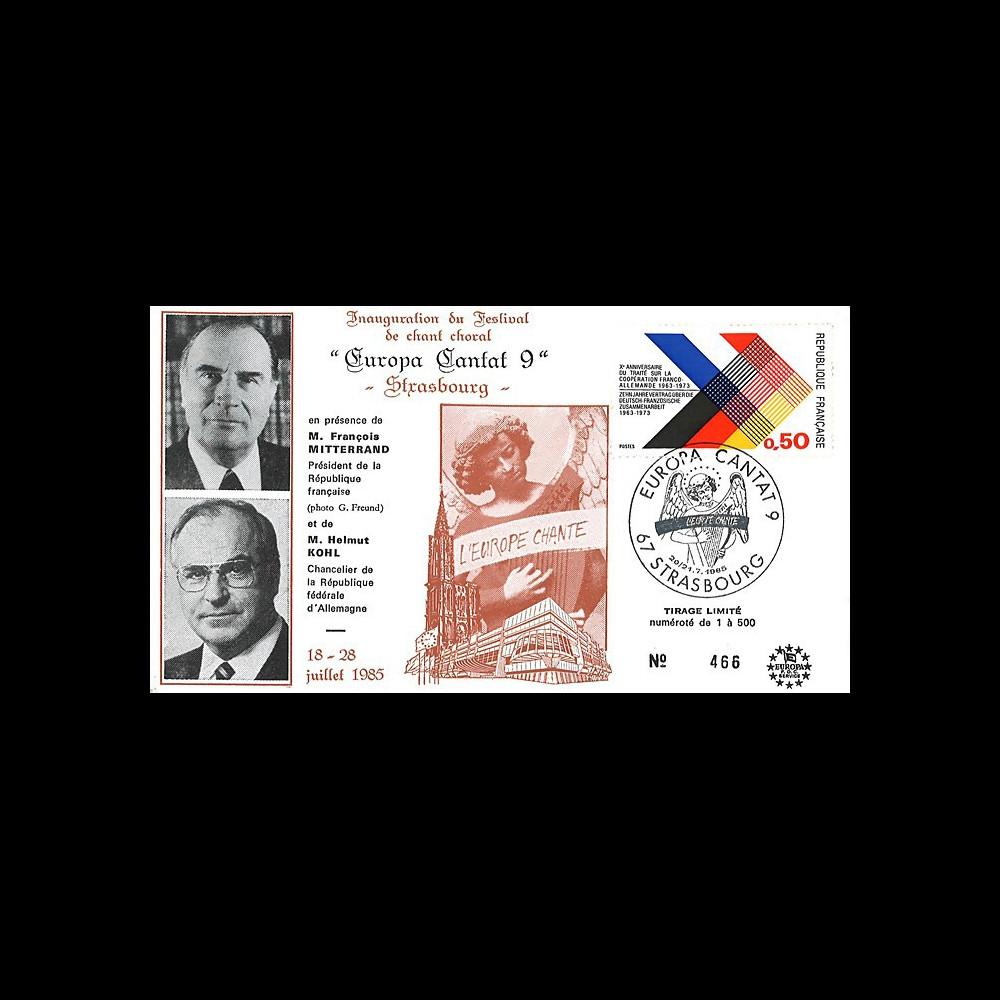 """AEM85-EC-T2 : 1985 FDC Strasbourg """"Année européenne de la Musique / Mitterrand & Kohl"""""""