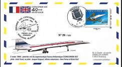 """CO-RET41T2 : 2009 FDC France """"40 ans 1er vol Concorde 001"""" TPP Monde 20g"""