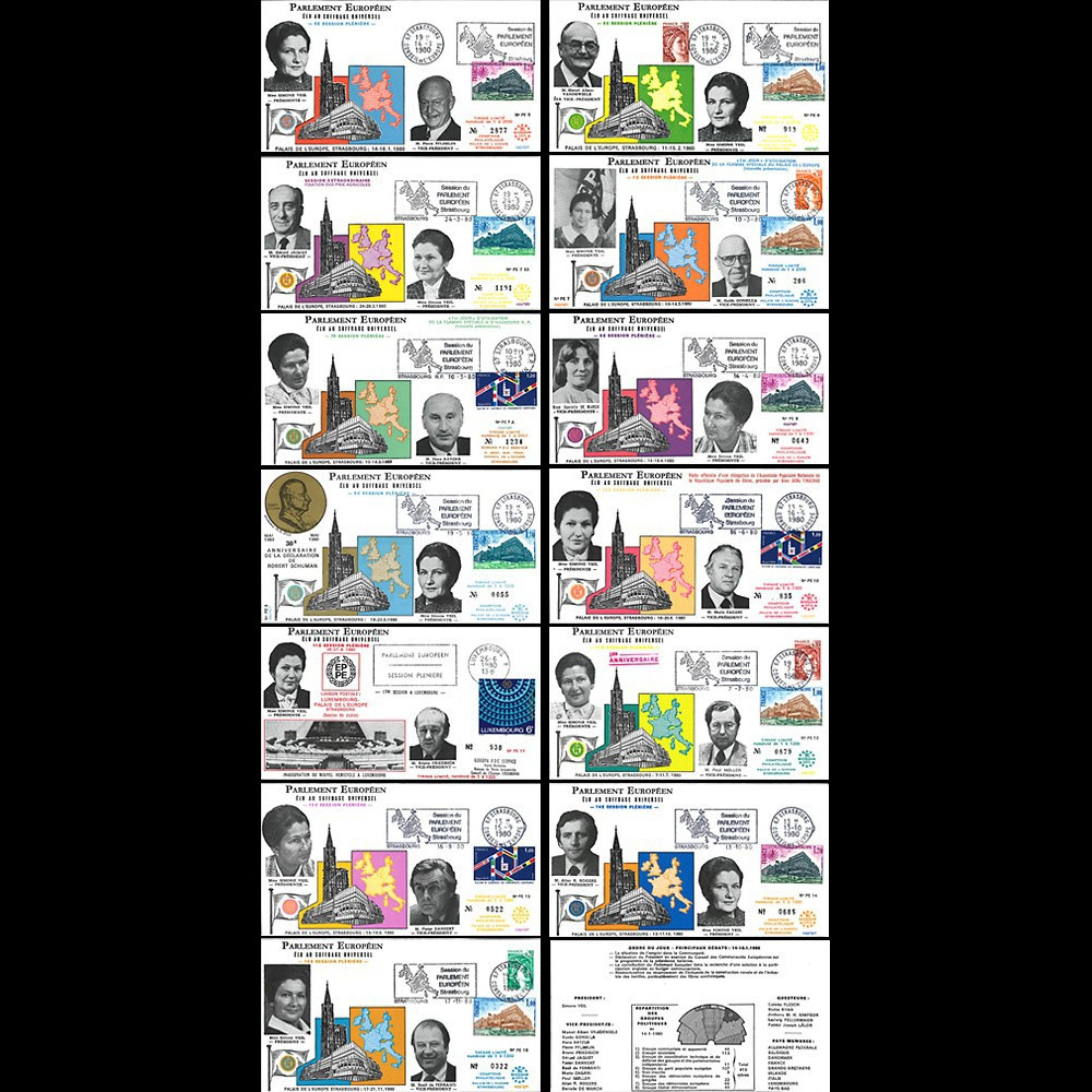 """PE5/15 Série de 13 FDC PE """"La Présidente Simone VEIL et ses 12 Vice-Présidents"""" 1980"""