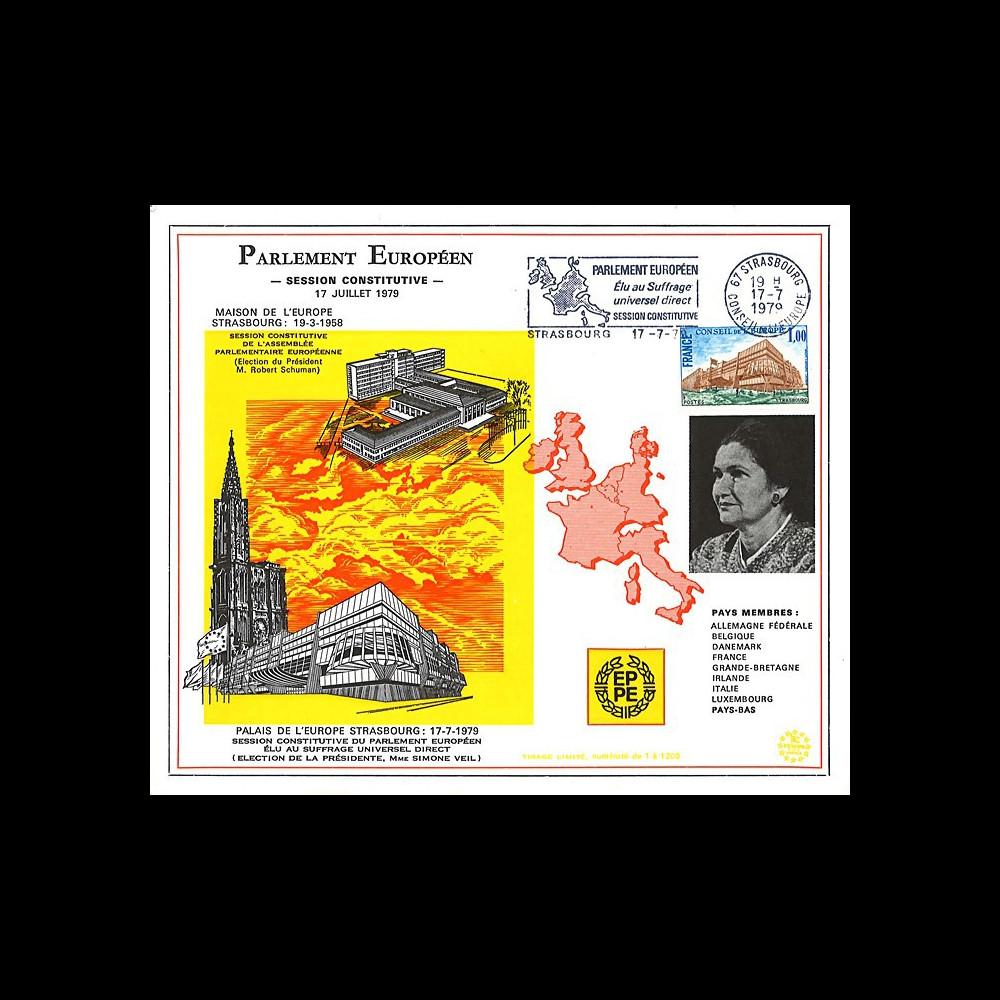 "SC3 : Carte PE ""Election Simone VEIL 1er président du PE élu au suffrage universel"" 1979"