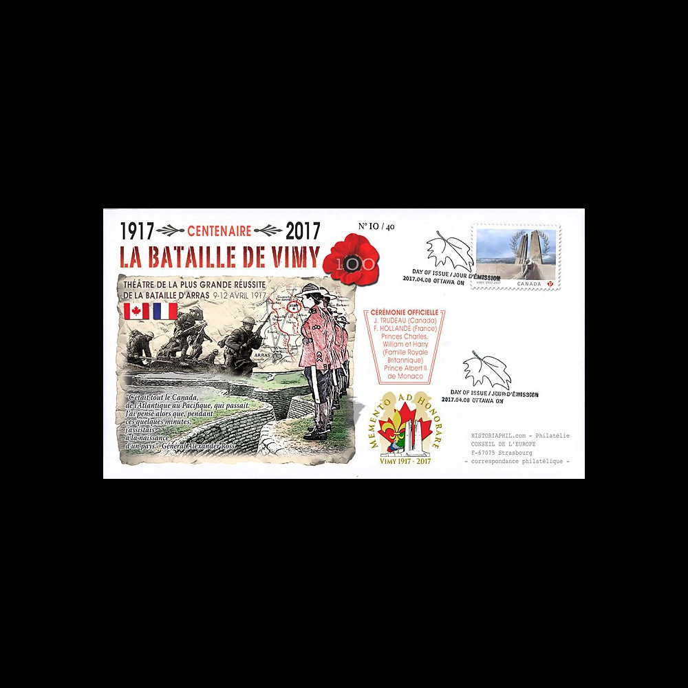 """CENT17-1T2 FDC CANADA """"1917-2017 Centenaire Bataille de la crête de Vimy / Arras"""""""