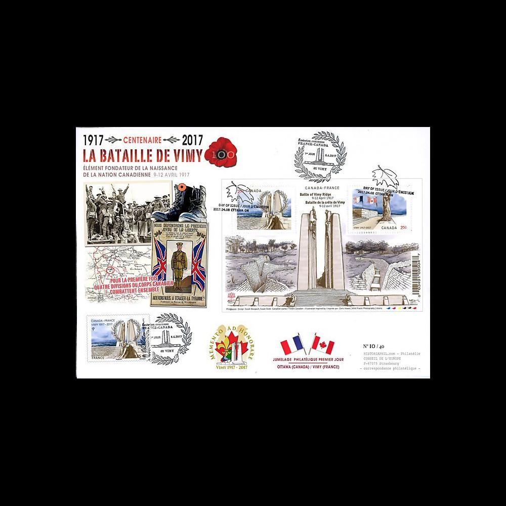 """CENT17-2 : MAXI-FDC FRANCE-CANADA """"1917-2017 Bataille de la crête de Vimy / Arras"""""""