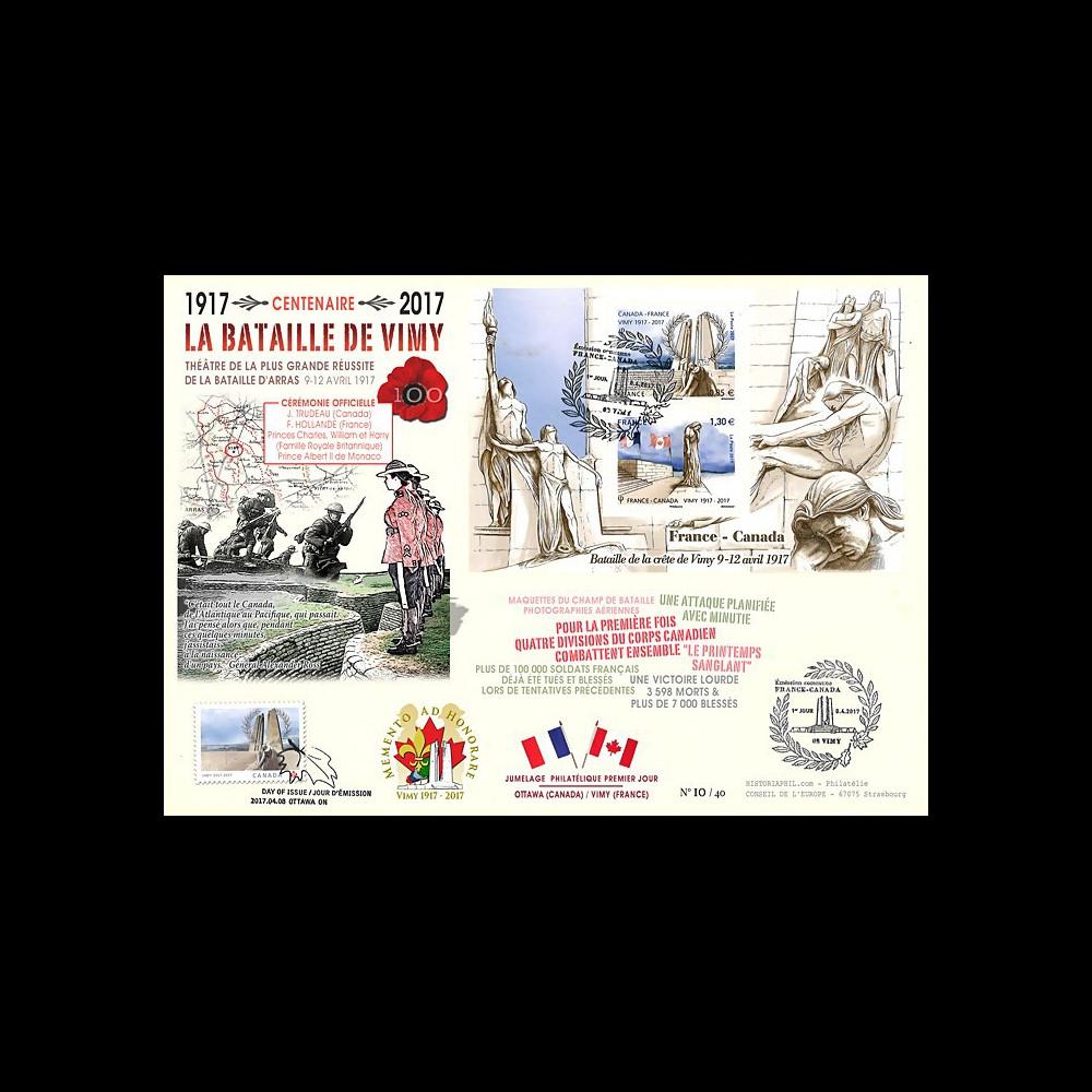 """CENT17-3 : MAXI-FDC FRANCE-CANADA """"1917-2017 Bataille de la crête de Vimy / Arras"""""""