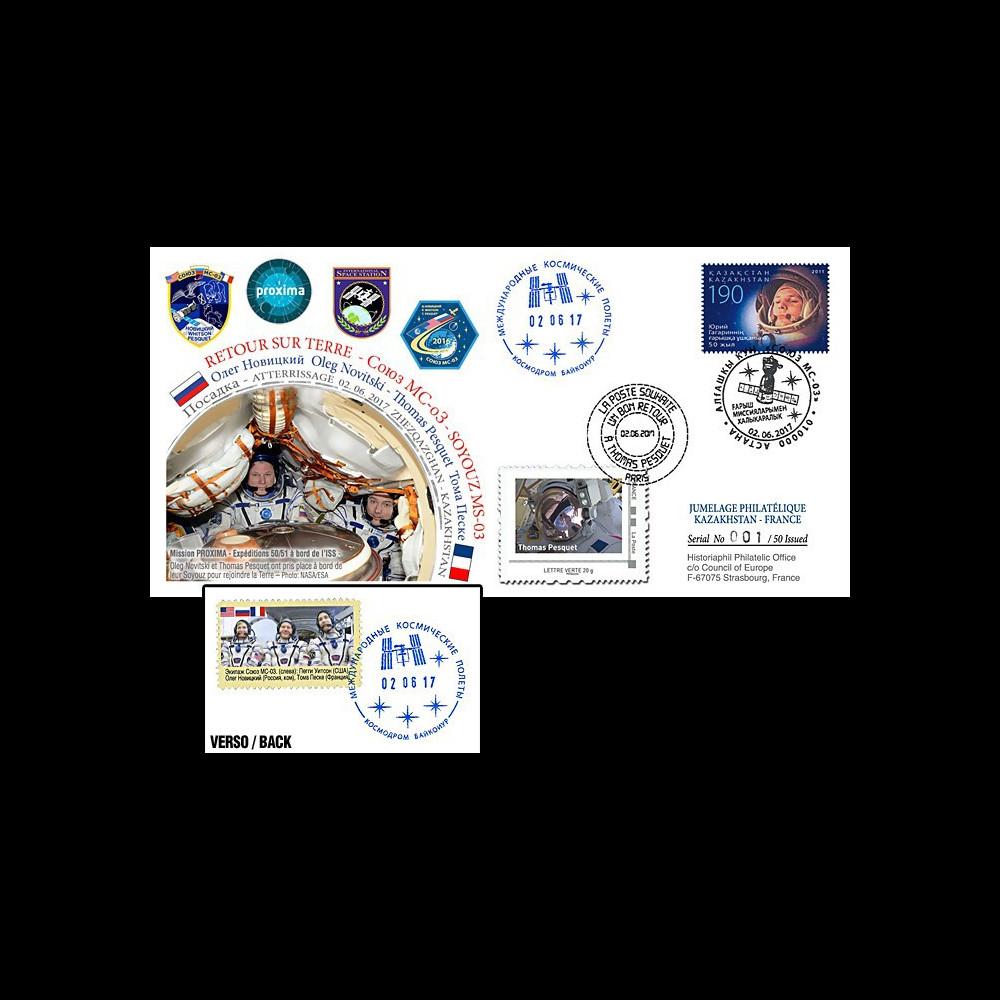 """PROXIMA17-T4 FDC Kazakhstan-France """"Soyouz MS-03 Retour sur Terre de T. Pesquet"""" 2017"""