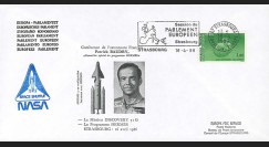 "BAUD1-EO : 1986 FDC PE ""Patrick BAUDRY au Parlement européen / Mission Discovery 51G"""