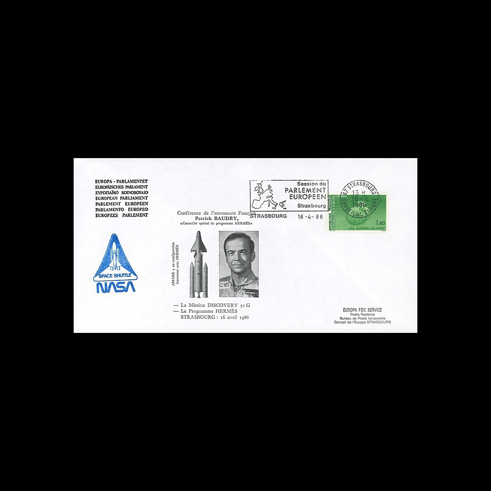 "BAUD1-EO : 1986 FDC PE ""Patrick BAUDRY au Parlement européen / Mission Discovery 51G"""