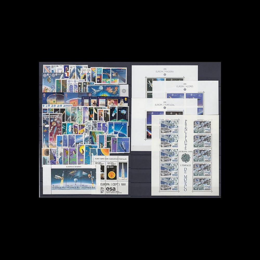 "EUROPA91-COL1 : collection complète ""EUROPA CEPT 1991 L'Europe et l'espace"" NEUF"