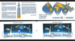 """EUROPA91-SUE2C : Suède carnet 6 timbres """"EUROPA CEPT 1991 L'Europe et l'espace"""""""