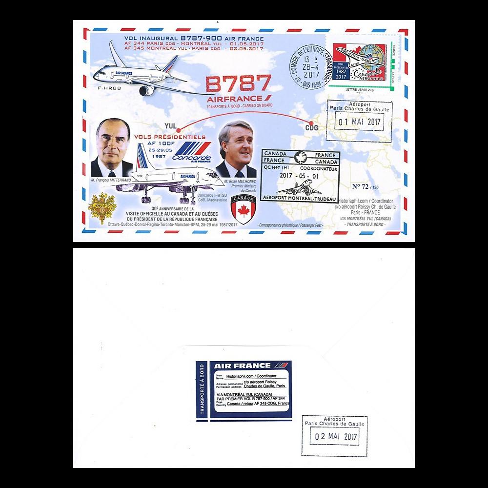 CO-RET76 : 2017 FFC '1er vol AF B787-9 Paris-Montreal / Vol Concorde Mitterrand 1987'