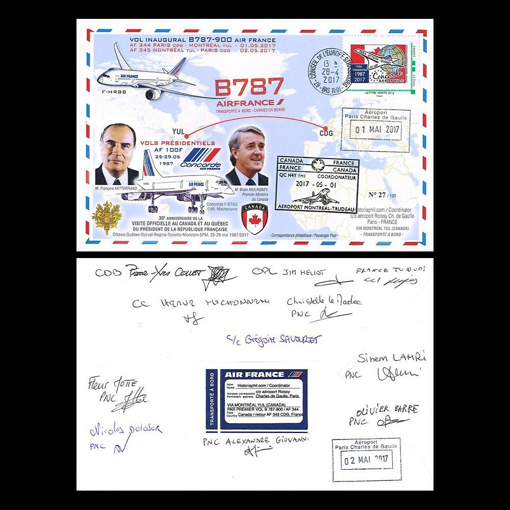CO-RET76D : 2017 FFC '1er vol AF B787-9 Paris-Montreal signée par l'équipage / Concorde'