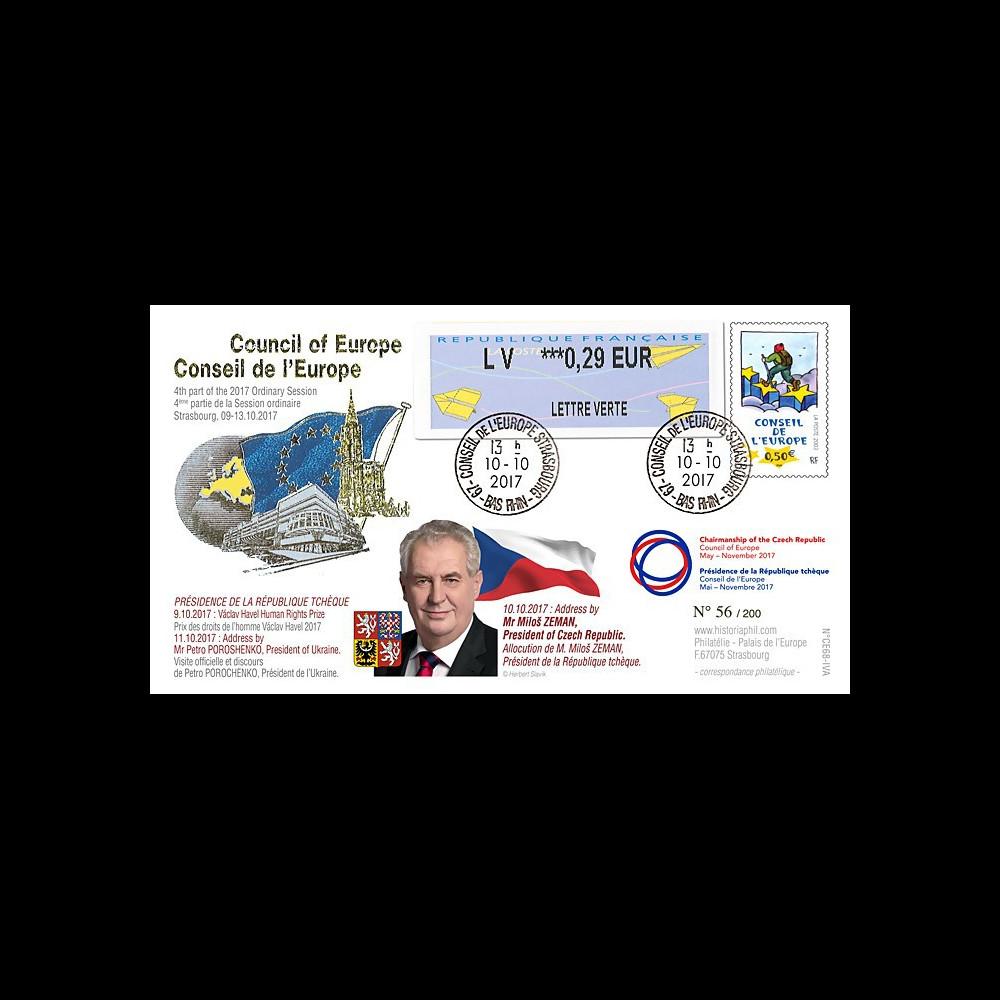 """CE68-IVA FDC Conseil Europe """"Miloš ZEMAN Président tchèque / Prix Vaclav Havel"""" 10-2017"""