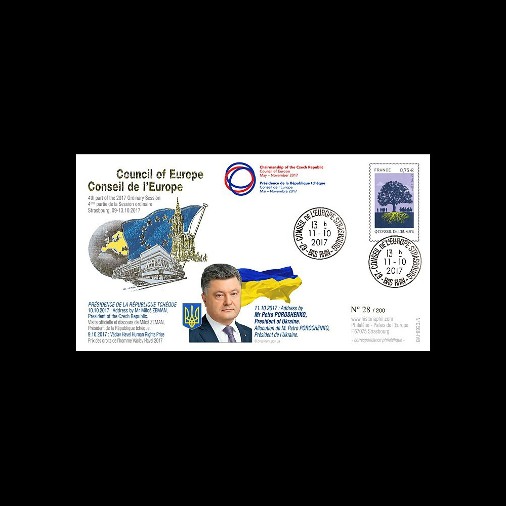 "CE68-IVB FDC Conseil Europe ""POROCHENKO Président Ukraine / Prix Vaclav Havel"" 10-2017"