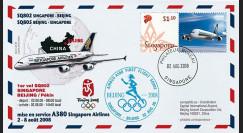 """A380-65T2 : 2008 FFC Singapour """"JO BEIJING 2008 / 1er vol 380 Singapour-Pékin"""" TYPE2"""