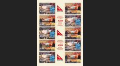 """A380-185FND : 2012 Feuillet vignettes """"1er Vol A380 QANTAS Sydney-Londres / JO 2012"""""""