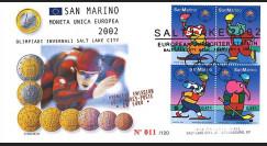 "PE445-20 : 2002 Saint-Marin FDC 1er Jour ""Premiers timbres en Euro / JO Salt Lake 2002"""