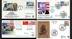 "PE343/353 : 1997 - 4 FDC USA / Allemagne / Pays-Bas et Italie ""50 ans du Plan Marshall"""