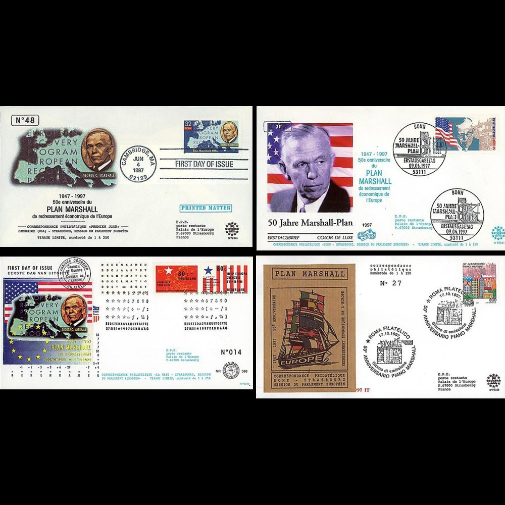 """PE343/353 : 1997 - 4 FDC USA / Allemagne / Pays-Bas et Italie """"50 ans du Plan Marshall"""""""