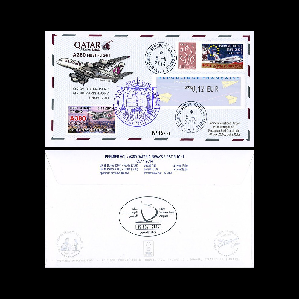 "A380-283T2 : France FDC ""Vol inaugural A380 Paris-Doha 5.11.2014"" TPP SURCHARGE OR"