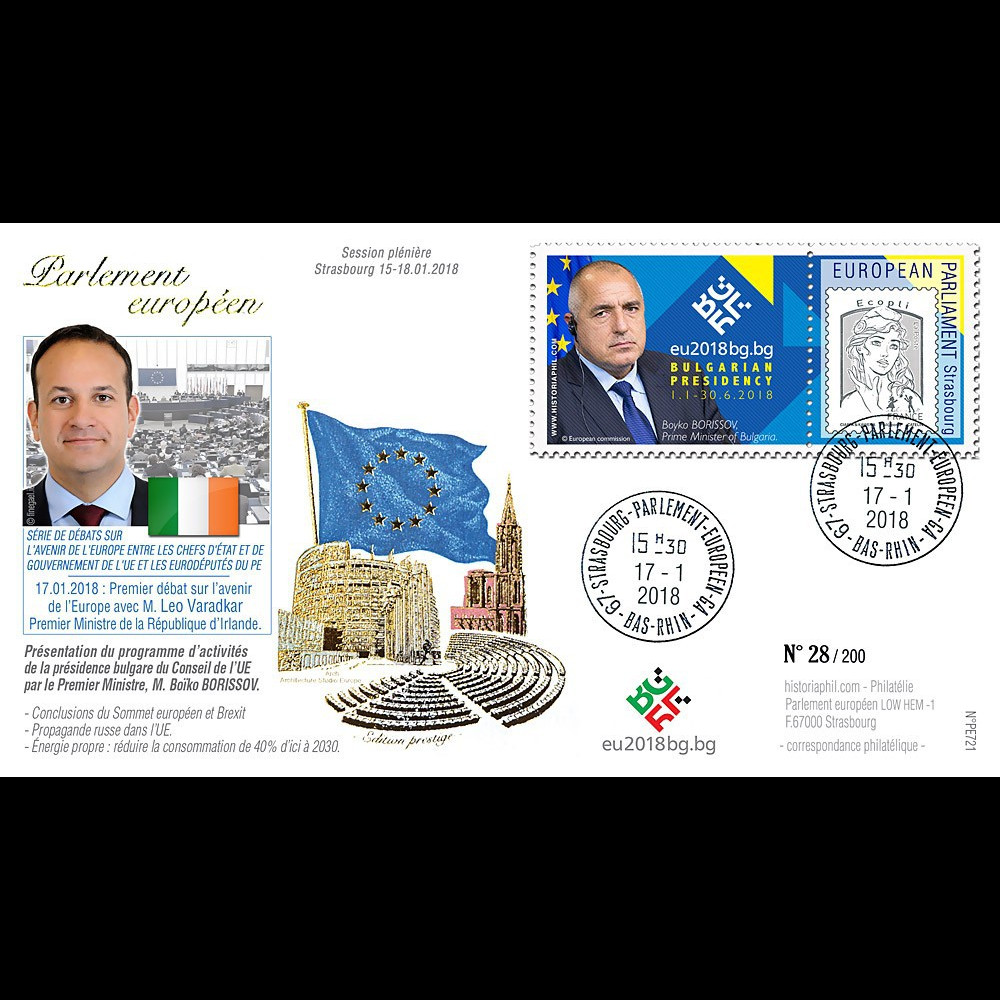 "PE721 : 2018 FDC PE ""Bulgarie Présidence UE & Boïko BORISSOV / Leo VARADKAR"