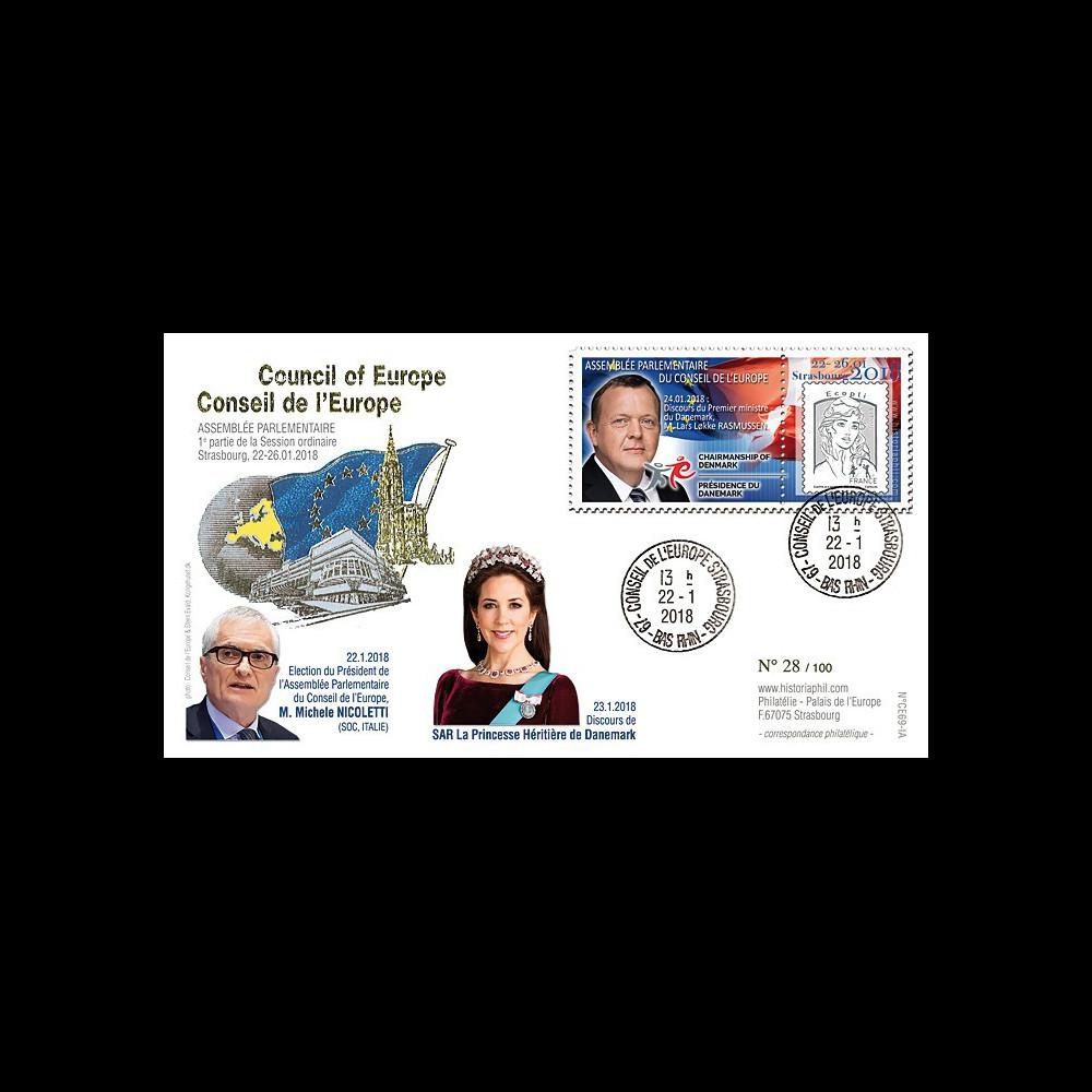 """CE69-IA FDC Conseil Europe """"NICOLETTI Pdt APCE / Princesse héritière Danemark"""" 02-2018"""