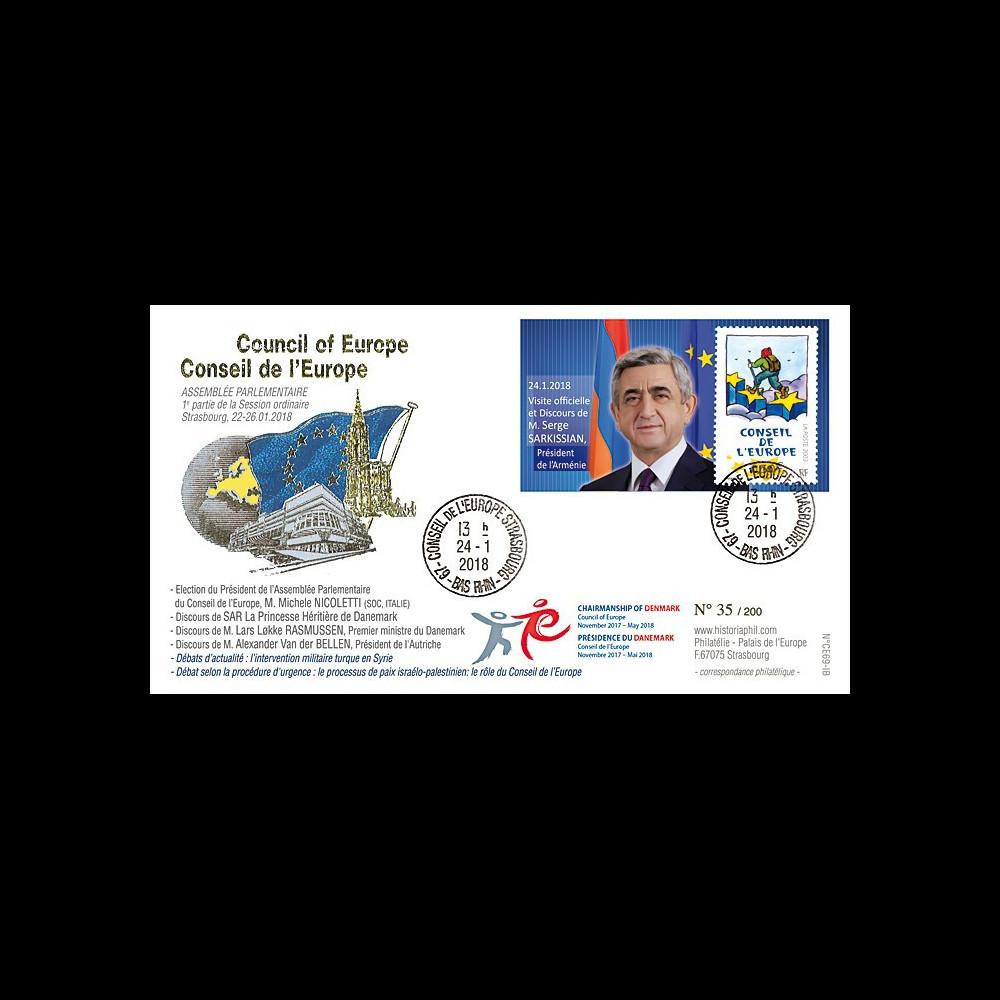 "CE69-IB FDC Conseil de l'Europe ""SARKISSIAN Pdt Arménie / Présidence Danemark"" 01-2018"