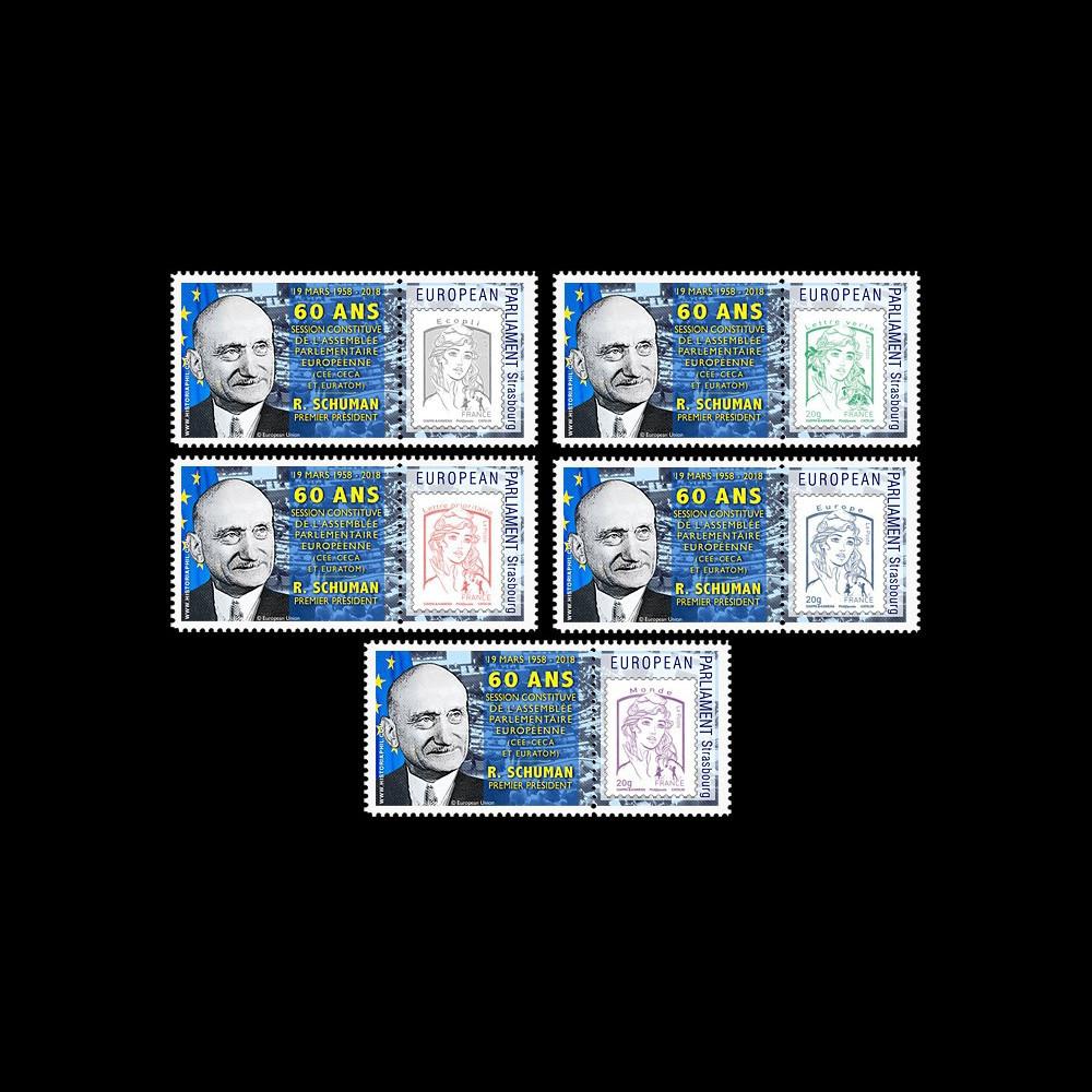 """PE723-PT : 5 Marianne """"PE / 60 ans session constitutive / Schuman 1er président du PE"""""""