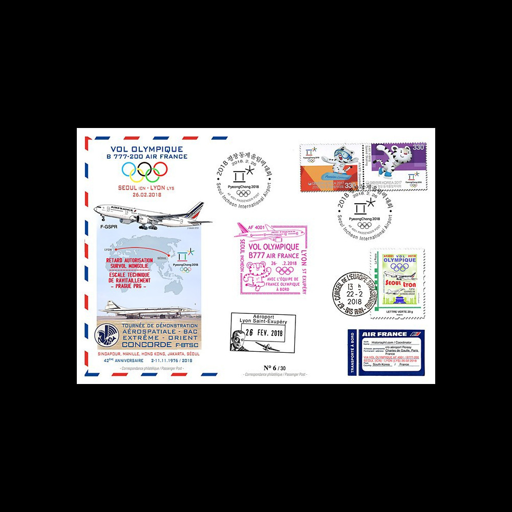 "JO2018-2 : 26.2.2018 FFC voyagée ""Vol olympique B777 AIR FRANCE Séoul-Lyon"" TYPE 2"