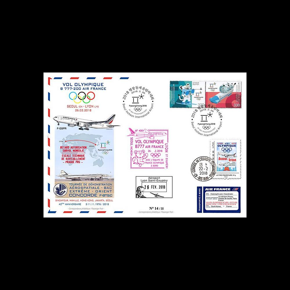 "JO2018-5 : 26.2.2018 FFC voyagée ""Vol olympique B777 AIR FRANCE Séoul-Lyon"" TYPE 5"