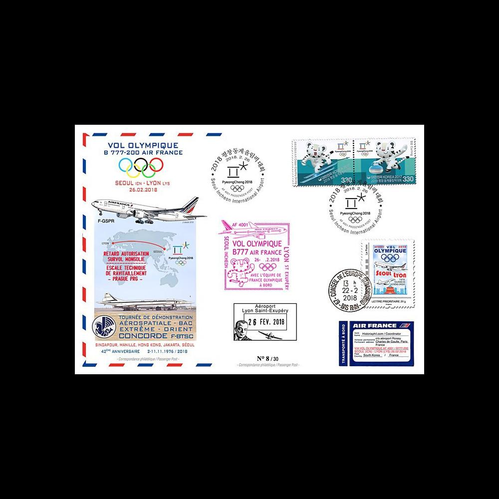 "JO2018-6 : 26.2.2018 FFC voyagée ""Vol olympique B777 AIR FRANCE Séoul-Lyon"" TYPE 6"