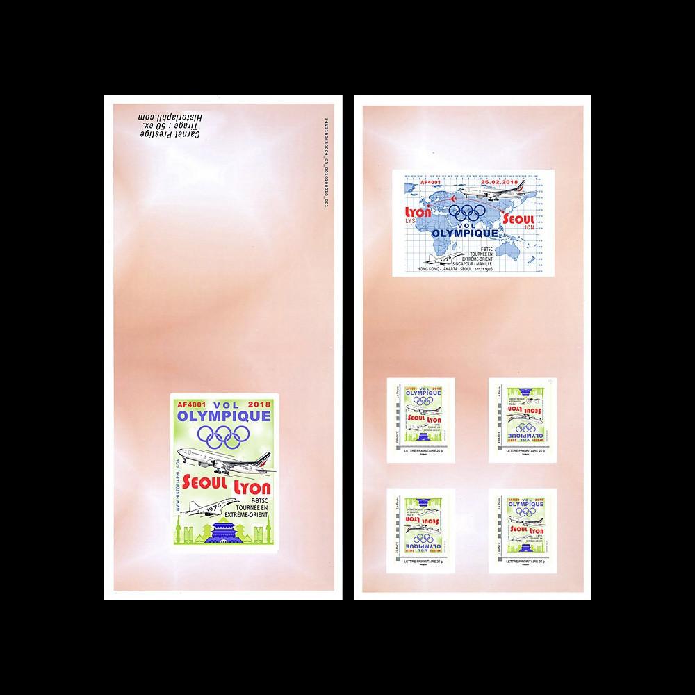 "JO2018-TPP1C : 2018 FRANCE Carnet Collector ""Vol olympique B777 Air France Séoul-Lyon"""