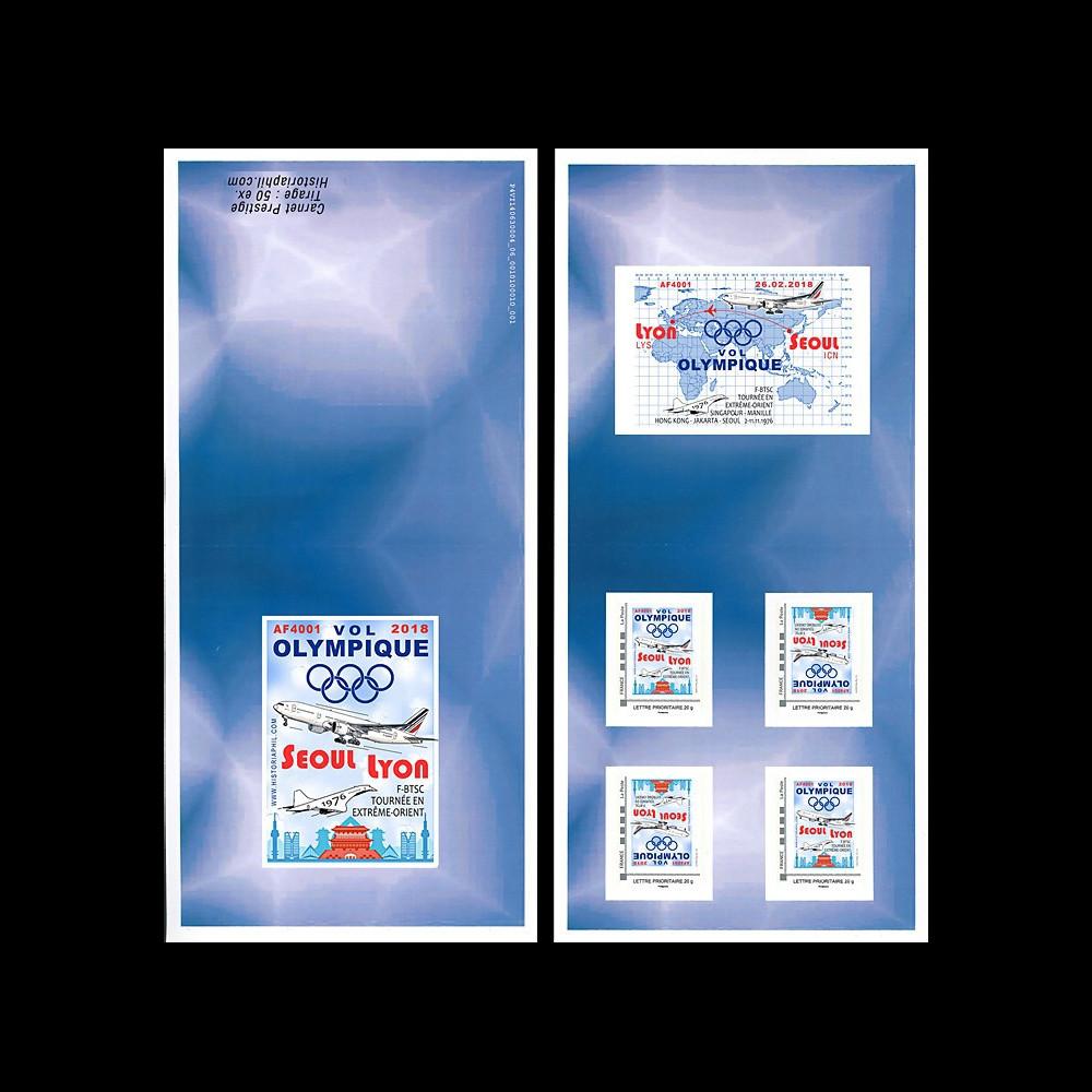 "JO2018-TPP2C : 2018 FRANCE Carnet Collector ""Vol olympique B777 Air France Séoul-Lyon"""