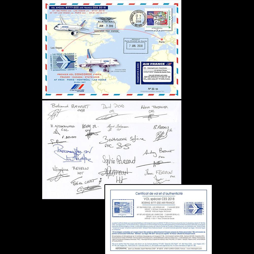 """CO-RET80D : 2018 FFC """"AF vol B777 & 40 ans vol Concorde Paris-Las Vegas"""" signée équipage"""