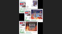 """DPRK17-HW4/6 Corée du Nord 3 FDC """"Kim Jong-un / Forces Stratégiques Nucléaires"""" 2017"""
