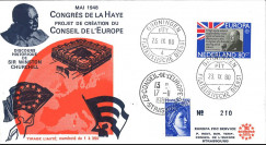 "CHURCH20-NL : Pays-Bas FDC 1er Jour Europa ""1948 Congrès européen La Haye / Churchill"""