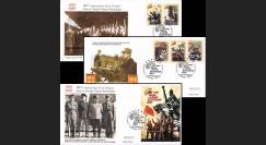 """RU05-VICT3 : 2005 série 3 FDC Russie """"60e anniversaire victoire 8 mai 1945 / de Gaulle"""""""
