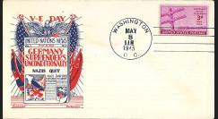 "W2US74-01 Pli patriotique USA ""VE-DAY in Europe - Capitulation de l'Allemagne 8 mai 1945"""