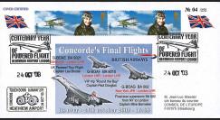 """CO-RET V10 : 2003 FDC UK """"Arrivée des 3 derniers vols Concorde à Heathrow"""""""