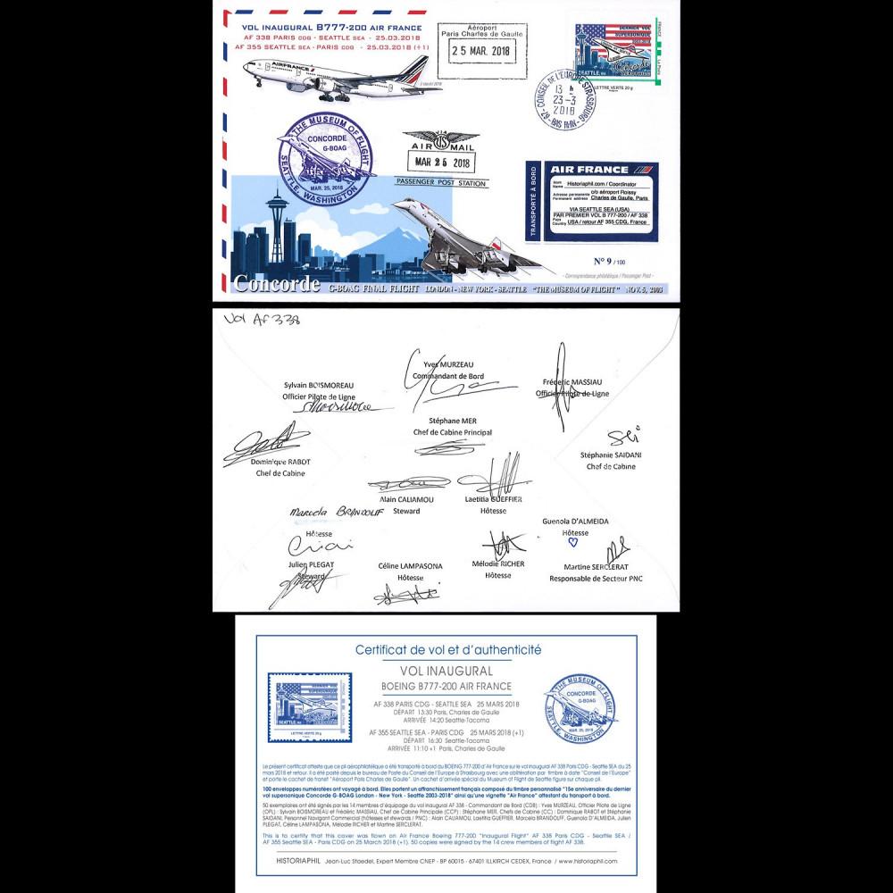 """CO-RET82D : 2018 FFC """"1er AF338 B777 & dernier vol Concorde BA Seattle"""" signée équipage"""