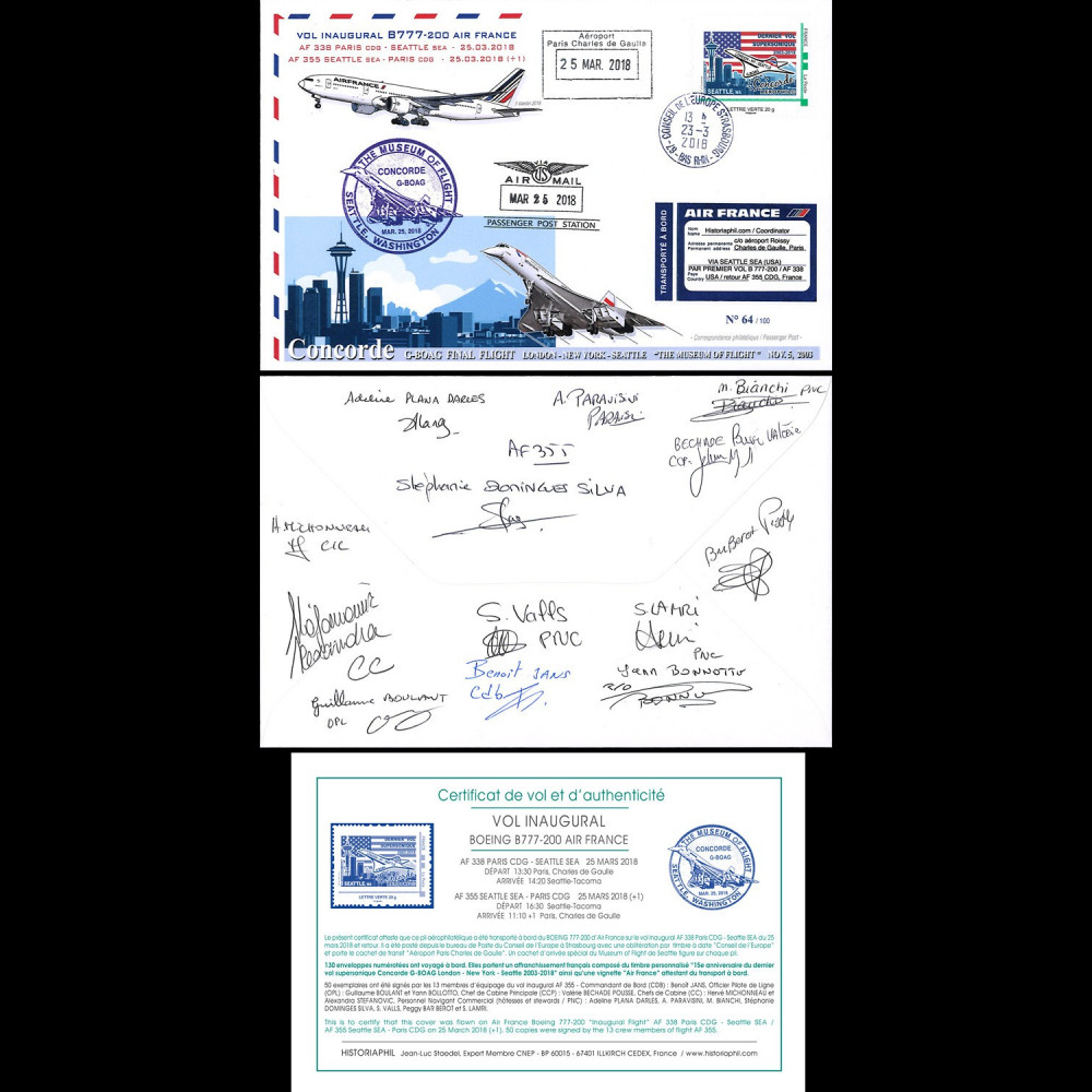 """CO-RET83D : 2018 FFC """"1er AF355 B777 & dernier vol Concorde BA Seattle"""" signée équipage"""