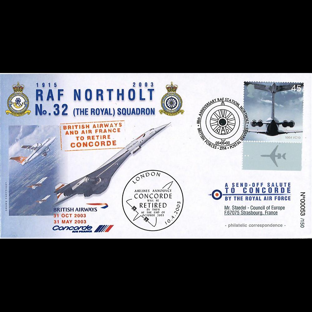 "CO03-RAF3 : 2003 Pli Grande-Bretagne ""88 ans RAF Station Northolt - retrait de Concorde"""