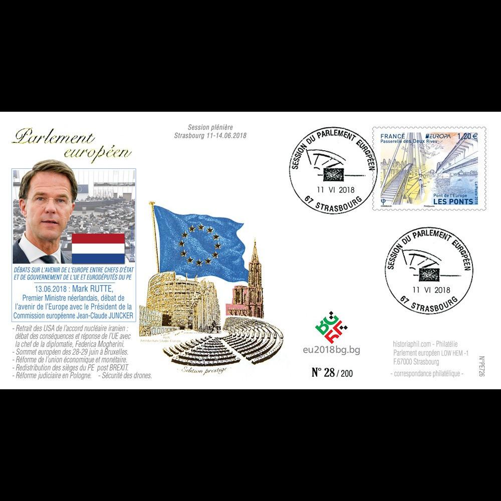 """PE726 : 2018 FDC PE """"Avenir de l'UE avec le Premier Ministre Mark RUTTE (Pays-Bas)"""""""