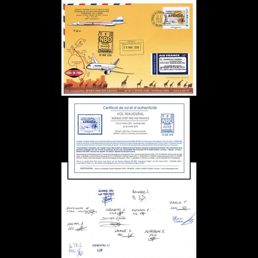 """CO-RET85D 2018 FFC """"1er AF814 B787 & vols d'essais Concorde à Nairobi"""" signée équipage"""