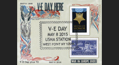 """LIB15-USB : 2015 Bloc porte-timbre US """"May 8 1945 VE DAY HERE / WAR INEUROPEOVER"""""""